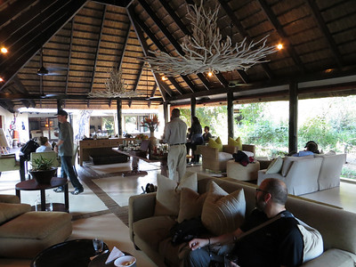 Comfy sitting area where we meet our safari guide for high tea before going out in the jeep...