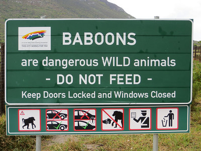 Watch out for baboons! (We didn't see any.)