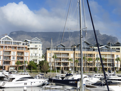 View of Table Mountain from our hotel (The Cape Grace on the V&A Waterfront) in Cape Town.