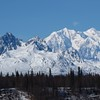 The Alaska Mountain Range and the Chulitna River in the Clear Mid Afternoon