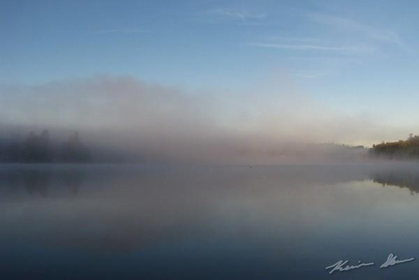 Foggy fall morning.