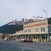 Downtown Seward up against the Kenai Mountains