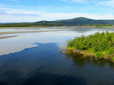 Where the clear waters of the Chena River run into the brown, muddy waters of the Tanana River.
