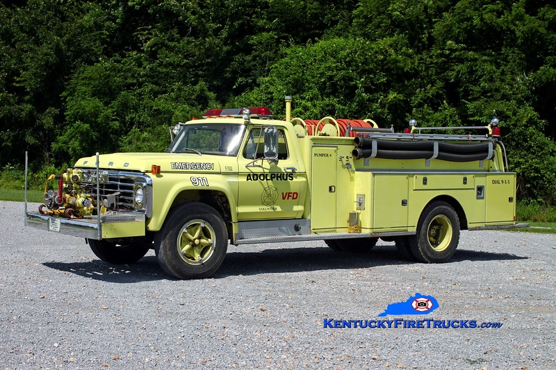 <center> Adolphus  Engine 85 <br> 1974 Ford F-700/American 750/750 <br> Kent Parrish photo <br> </center>