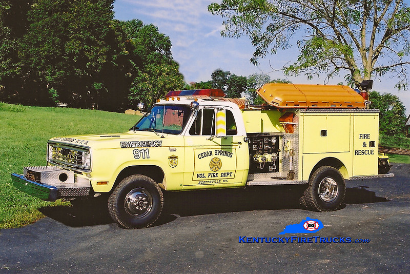 <center> RETIRED <br> Cedar Springs #2  Rescue 47 <br> x-Hebron, KY & Cedar Springs #1, KY <br> 1976 Dodge W30 4x4/Pierce 300/250 <br> Kent Parrish photo </center>
