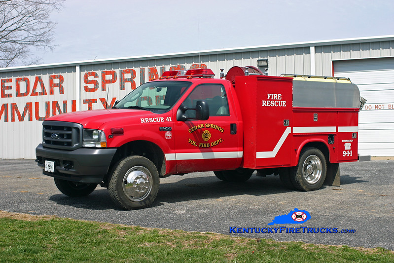 <center> Cedar Springs #1  Rescue 41 <br> 2003 Ford F-450 4x4/Stewarts 250/250 <br> Kent Parrish photo </center>