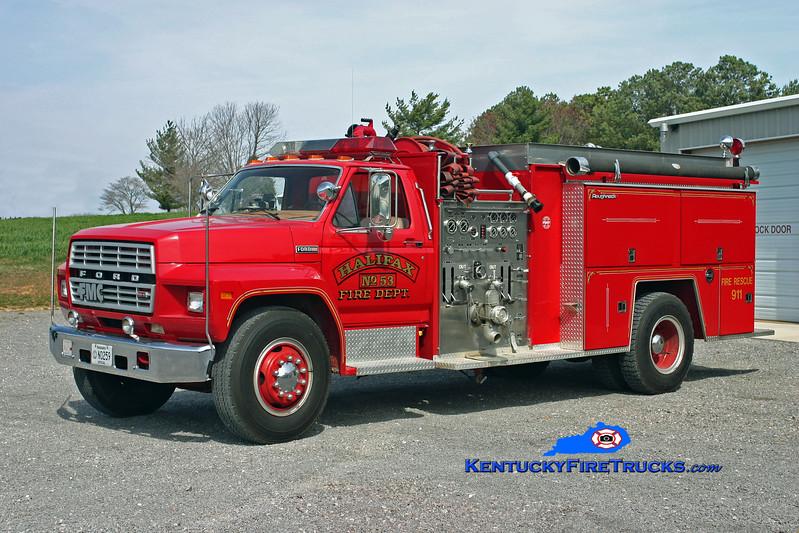 <center> Halifax  Engine 53 <br> x-Scottsville, KY  <br> 1984 Ford F-800/FMC 1000/1000 <br> Kent Parrish photo </center>