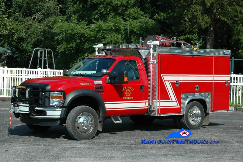 <center> Stony Point  Rescue 77 <br> 2009 Ford F-550 4x4/Deep South 100/300/CAFS <br> Greg Stapleton photo </center>