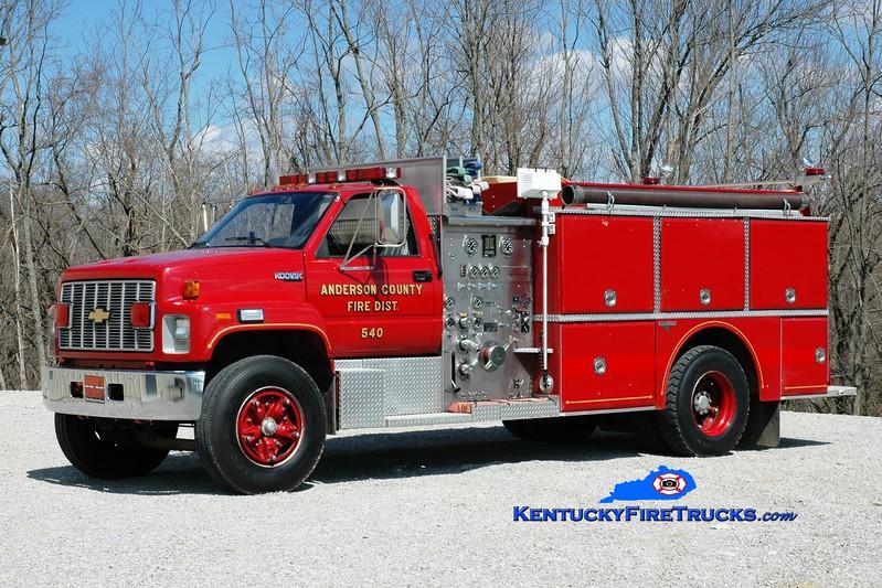 <center> Anderson County  Engine 54 <br> 1992 Chevy Kodiak/Grumman 1000/1000  <br> Greg Stapleton photo </center>
