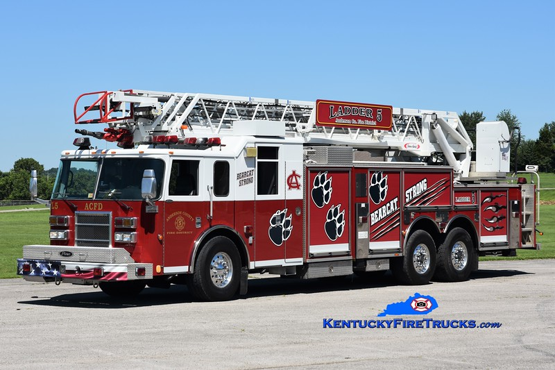 Anderson County  Ladder 5<br /> x-Stonewall Jackson, VA<br /> 2003/2018 Pierce Lance 105' <br /> Greg Stapleton photo