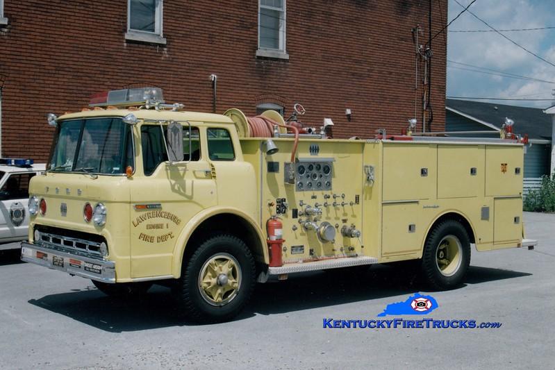 <center> RETIRED <br> Lawrenceburg  Engine 1 <br> 1976 Ford C-900/JACO 1000/750 <br> Greg Stapleton photo </center>