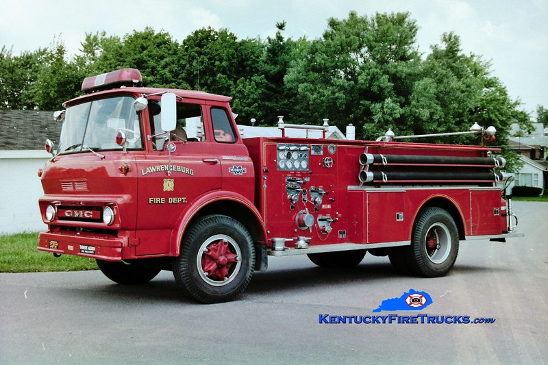 RETIRED <br /> Lawrenceburg Engine 1 <br /> 1965 GMC/Boyer 750/500 <br /> Greg Stapleton photo