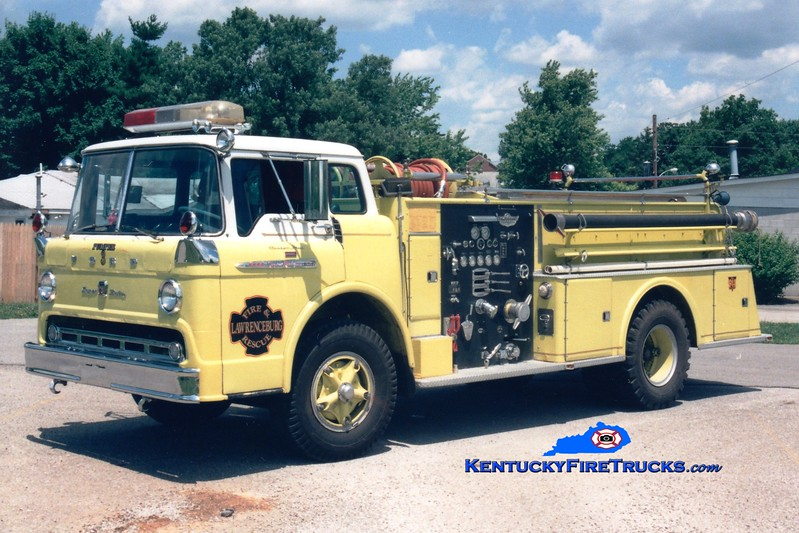 <center> RETIRED <br> Lawrenceburg  Engine 3 <br> x-Jeffersontown, KY; Spencer County, KY <br> 1961 Ford C/American 750/750 <br> Greg Stapleton photo </center>