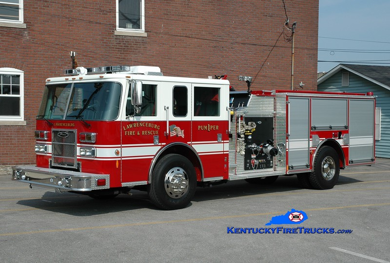 <center> Lawrenceburg  Pumper 1 <br> 2010 Pierce Contender 1250/800 <br> Greg Stapleton photo </center>