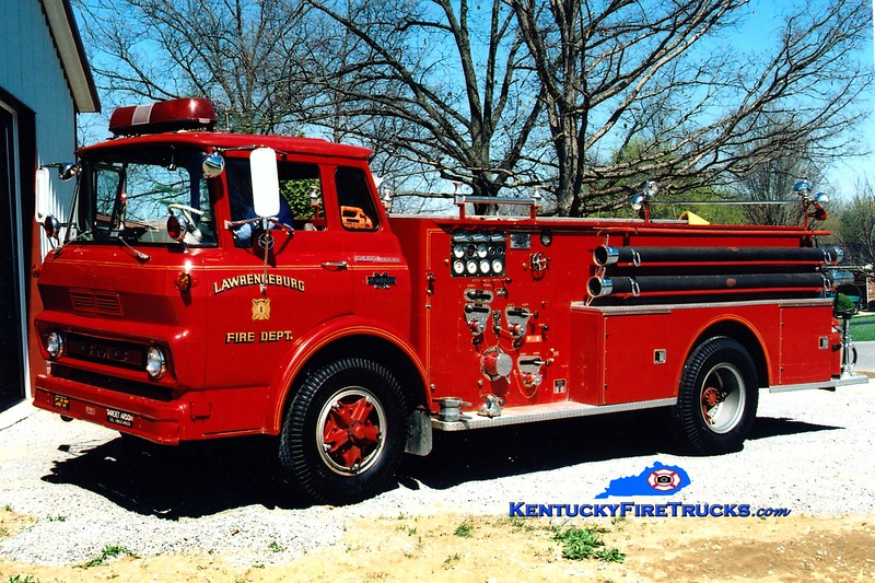 <center> RETIRED <br> Lawrenceburg  Engine 1 <br> 1965 GMC/Boyer  750/500 <br> Greg Stapleton photo </center>