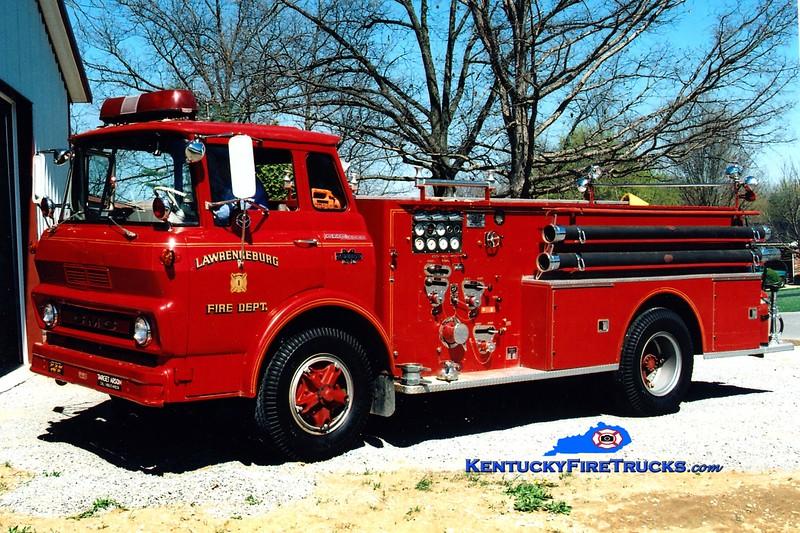 <center> RETIRED <br> Lawrenceburg  Engine 1 <br> 1965 GMC/Boyer  750/500 <br> Greg Stapleton photo </center>