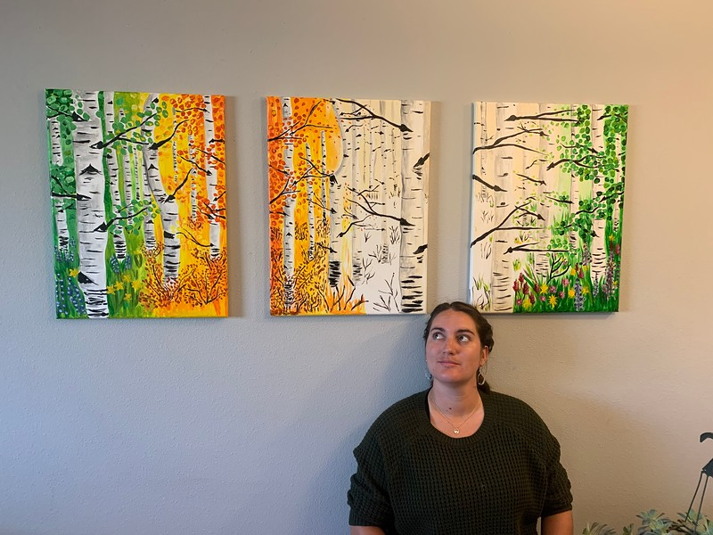 Aspen Tree Tri Panel Season Painting