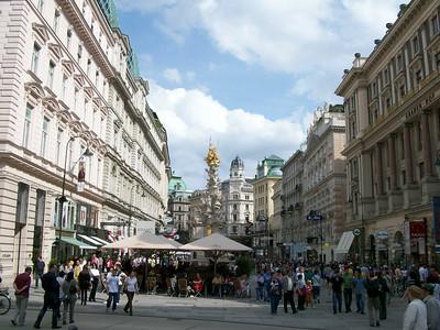 A pedestrian mall directly adjacent to Stephansplatz in Vienna.