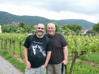 Joe and Ed in the wine region of the Wachau Valley. We are 75 miles outside of Vienna. We biked about 20 miles along the Danube River, stopping at five wineries and the town of Duernstein.