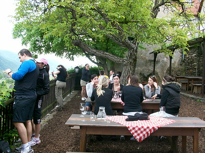 Stopping for lunch at a small Inn on the hillside overlooking the Danube.