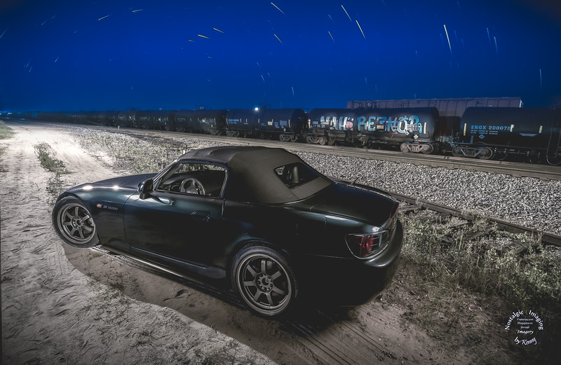 Honda S2000 Near Railroads with Startrails