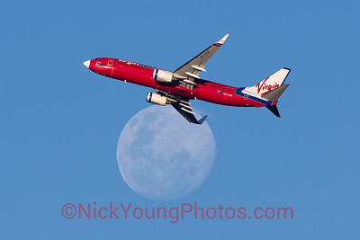 Virgin Blue Boeing 737-800 crosses the moon