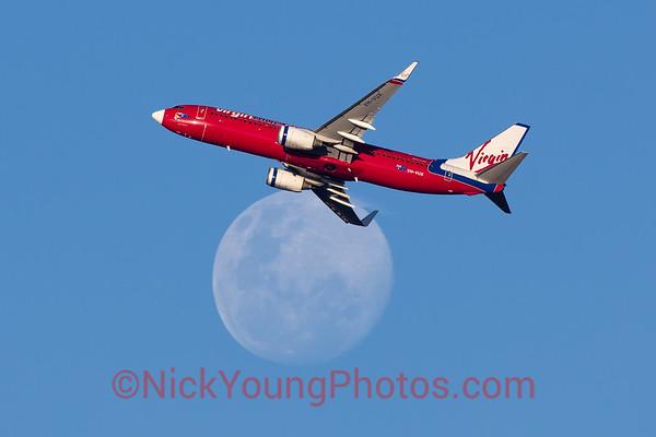 Virgin Blue Boeing 737-800 crosses the moon