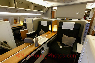 The Swiss First Class cabin has 8 very stylish seats which have a clever design whereby the closet and privacy screen can close off the area and create a suite