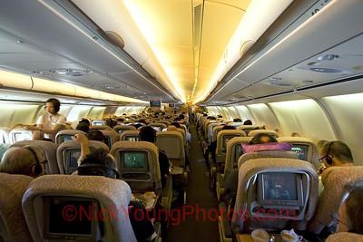 Emirates A340-500 Economy Class cabin.