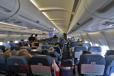 The cabin onboard an Aerolineas Argentinas A340-200.
