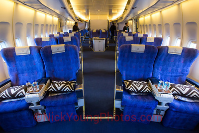 The Air Pacific/Fiji Airways Business Class cabin in the nose of the 747-400.