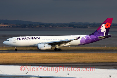 Hawaiian Airlines operating its A330-200 on its inaugural flight from Honolulu to Auckland.
