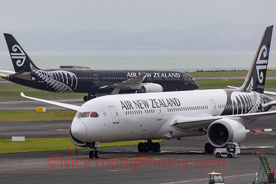 Black and white Air New Zealand Boeing 787-9 Dreamliners