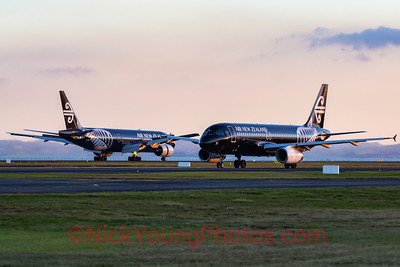 Two black Air New Zealand aircraft
