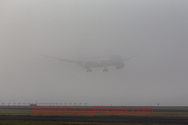 Air New Zealand Boeing 787-9 in the fog