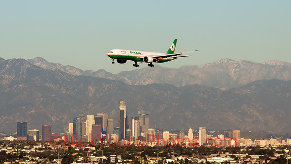 EVA Air Boeing 777-300ER over Los Angeles City