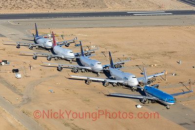 A lineup of planes ready to be scrapped