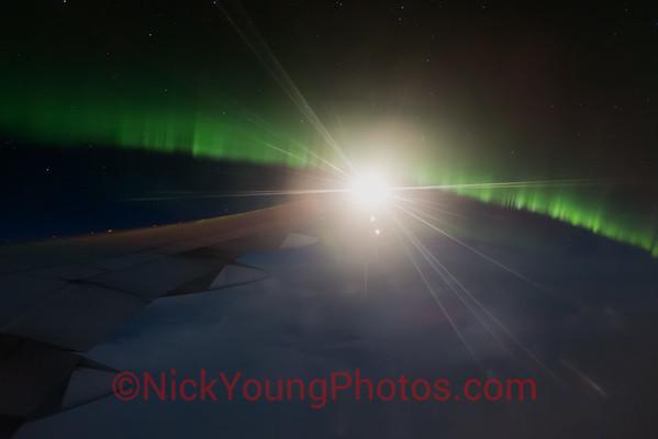 Aurora Borealis over southern Greenland