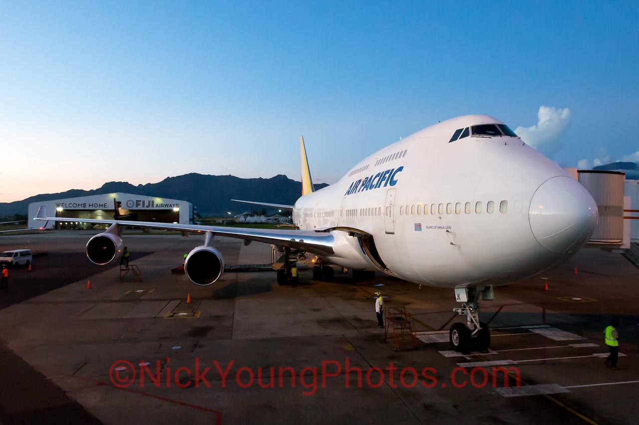Air Pacific Fiji Airways Boeing 747-400 in Nadi, Fiji