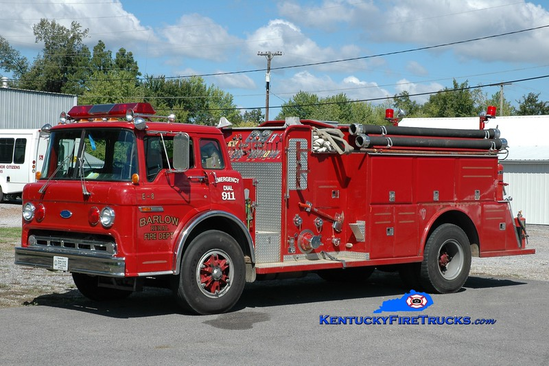 <center> Barlow Rural  Engine 8 <br> x-Reidland Farley, KY <br> 1987 Ford C-8000/Towers 1000/1000 <br> Greg Stapleton photo </center>