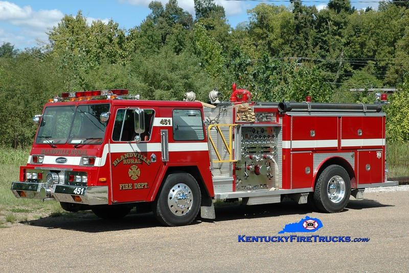 <center> Blandville  Engine 451 <br> x-Monroe Twp, NJ <br> 1983 Pemfab Wedge/E-One 1500/500 <br> Greg Stapleton photo </center>