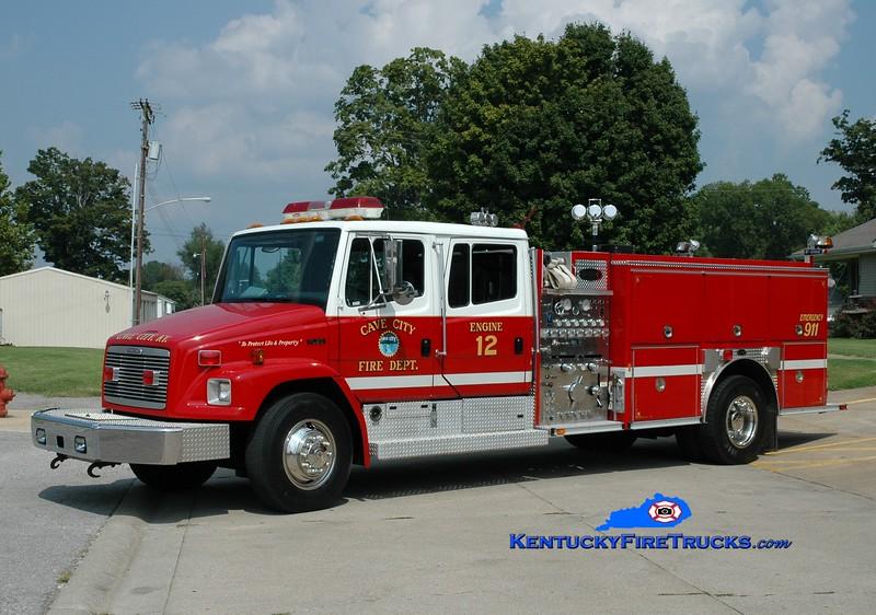<center> Cave City  Engine 12  <br> 1997 Freightliner FL80/E-One 1250/1000 <br> Greg Stapleton photo </center>