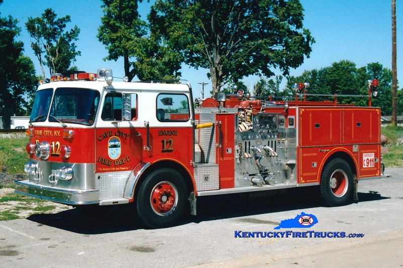<center> RETIRED <br> Cave City  Engine 12  <br> x-Pittsford, NY <br> 1976 Seagrave PB 1250/500 <br> Greg Stapleton photo </center>