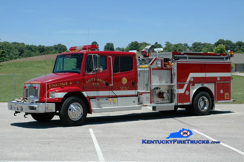 <center> East Barren  Engine 6 <br> 1996 Freightliner FL80/E-One 1250/1000 <br> Greg Stapleton photo </center>