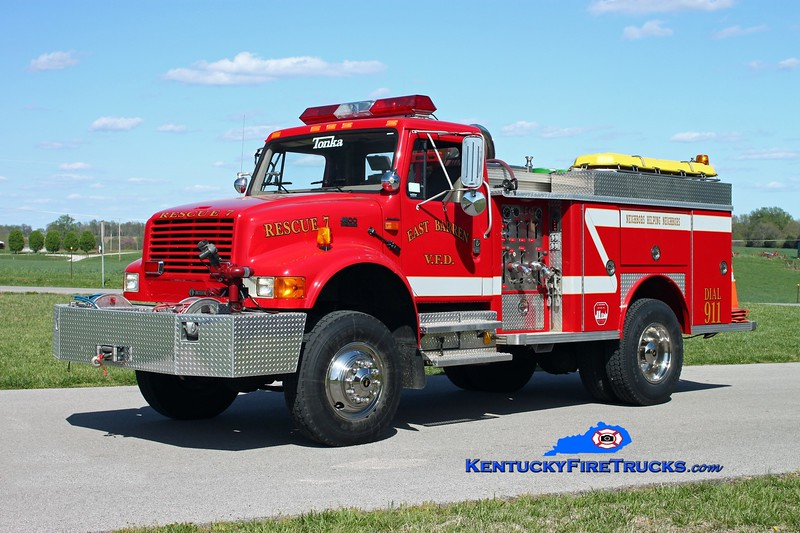 <center> East Barren  Rescue 7 <br> 2000 International 4800 4x4/1976 E-One/2012 EBFD 500/500 <br> Kent Parrish photo </center>
