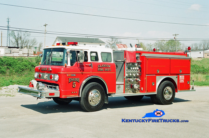 <center> RETIRED <br> Glasgow Engine 5 <br> 1989 Ford C-8000/E-One 1250/500 <br> Kent Parrish photo </center>