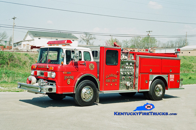 <center> RETIRED <br> Glasgow Engine 6 <br> 1990 Ford C-8000/E-One 1250/500 <br> Kent Parrish photo </center>