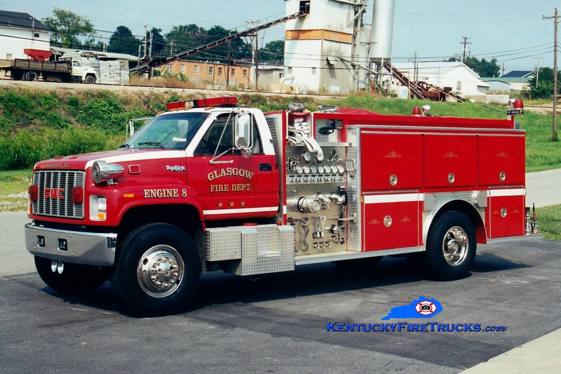 <center> RETIRED <br> Glasgow Engine 8 <br> 1992 GMC TopKick/E-One 1500/1000 <br> Greg Stapleton photo <br> </center>