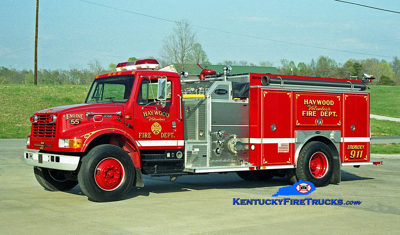 <center> Haywood  Engine 55 <br> 2000 International 4900/E-One 1250/1000 <br> Kent Parrish photo </center>