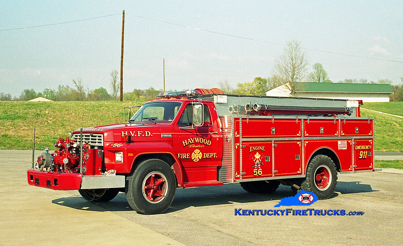 <center> RETIRED <br> Haywood  Engine 56 <br> 1983 Ford F-700/Wimpees Welding 750/1500 <br> Kent Parrish photo </center>